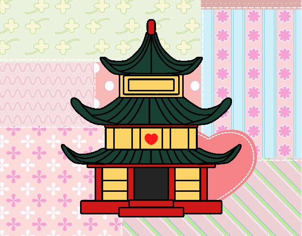 Desenho de casa tradicional japonesa pintado e colorido - Casa tradicional japonesa ...