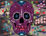 Desenho Caveira mexicana pintado por luzinda