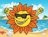 O sol com óculos de sol