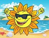 Desenho O sol com óculos de sol pintado por ImShampoo