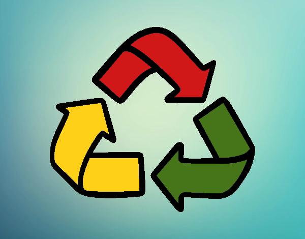 desenho de símbolo de reciclagem pintado e colorido por usuário não