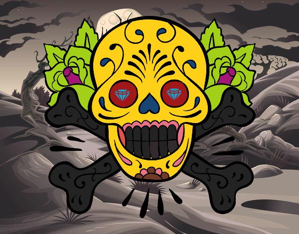 Desenho De Tatuagem De Caveira Pintado E Colorido Por