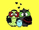 Desenho Família coruja pintado por alice5love