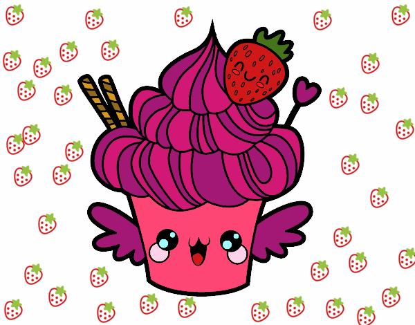 desenho de cupcake kawaii com morango pintado e colorido por usuário