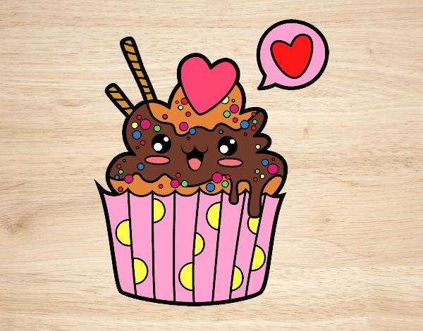 desenho de cupcake kawaii pintado e colorido por imshampoo o dia 17