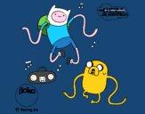 Desenho Finn e Jake ouvir música pintado por luabraz