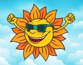 Desenho O sol com óculos de sol pintado por Missim