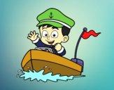 Desenho Barco e capitão pintado por Theo_2016