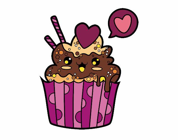 desenho de cupcake kawaii pintado e colorido por veriana o dia 02 de
