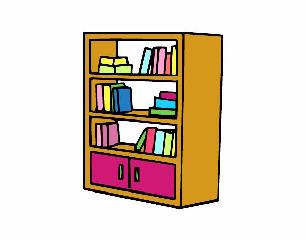 Desenho De Biblioteca Para Colorir: Desenho De Estante Com Gavetas Pintado E Colorido Por