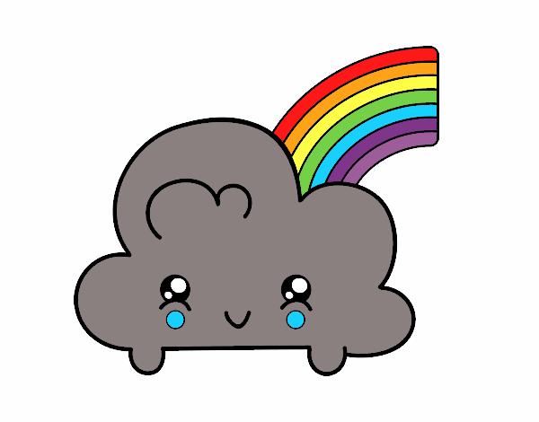 Desenhos Kawaii Para Colorir: Desenho De Nuvem Com Arco-íris De Kawaii Pintado E