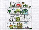 Desenho Cidade ecológica pintado por LLL321
