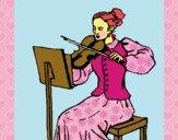 Desenho Dama violinista pintado por Arteando