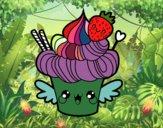 Cupcake kawaii com morango