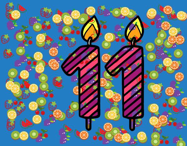 Desenho De Frutas E O Numero 11 Pintado E Colorido Por