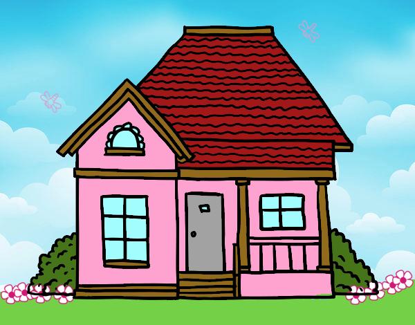 Desenho De Casas Simples Para Colorir: Desenho De Casa De Campo Pintado E Colorido Por Marilurdes