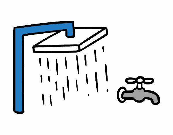 Desenho de ducha e torneira banho pintado e colorido por for Ducha facil