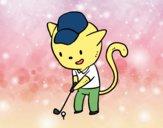 Desenho Gato golfista pintado por ImShampoo