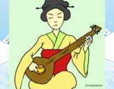 Geisha a tocar alaúde