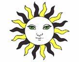 Desenho Sol pintado por biinha