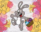 Desenho Coelho de vista de ovos de Páscoa pintado por florbelinh