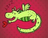 Desenho Dragão infantil dormindo pintado por ImShampoo