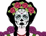 Desenho Mulher caveira mexicana pintado por elletronic