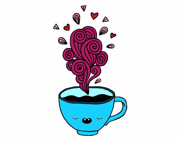 desenho de xícara de café kawaii pintado e colorido por silmetelo o
