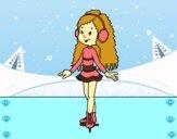 Menina do patinador de gelo
