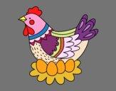 Desenho Galinha com ovos de Páscoa pintado por Olga53