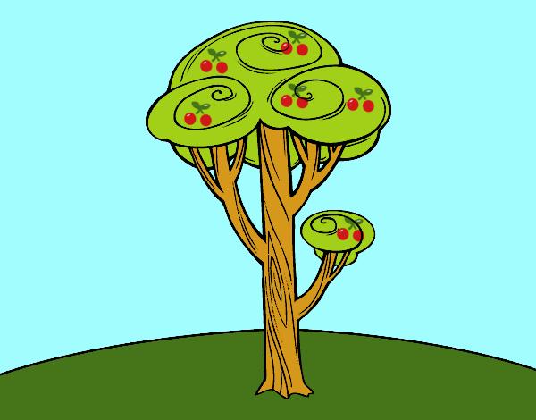 desenho de um pinheiro pintado e colorido por usuário não registrado