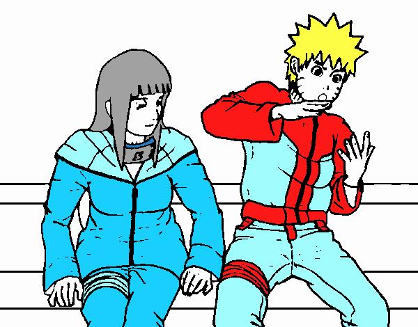 Naruto Colorido ~ Desenho de Hinata e Naruto pintado e colorido por Usuário n u00e3o registrado o dia 05 de Outobro do 2016