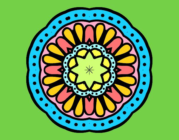 Desenho De Mandala Mosaico Pintado E Colorido Por Manuelf
