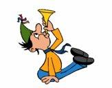Menino com um trompetita
