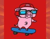 Porco graffiti em monopatim