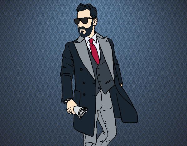 desenho de homem no terno pintado e colorido por usuário não