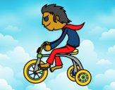 Desenho Rapaz no triciclo pintado por Guicanali