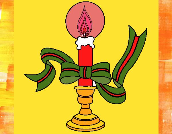 Desenho De Vela De Natal II Pintado E Colorido Por
