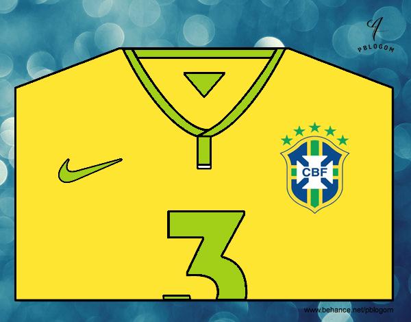 Desenho de Camisa da copa do mundo de futebol 2014 do Brasil pintado ... 0d605546c6773