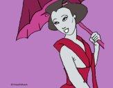 Desenho Geisha com chapéu de chuva pintado por ceciliaz
