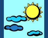 Desenho Sol e nuvens 2 pintado por ceciliaz