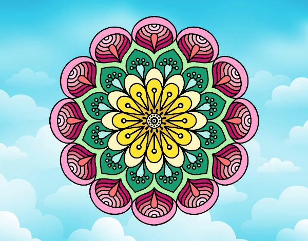 Desenho Mandala flor e folhas  pintado por Craudia