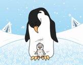 Desenho  Pinguim com seu bebê pintado por Craudia