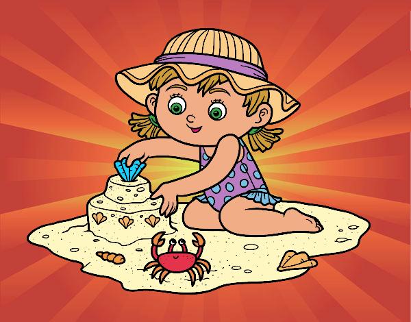 Desenho Uma menina que joga na praia pintado por Craudia