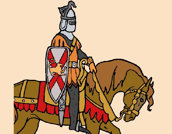 Desenho Cavaleiro a cavalo pintado por Craudia