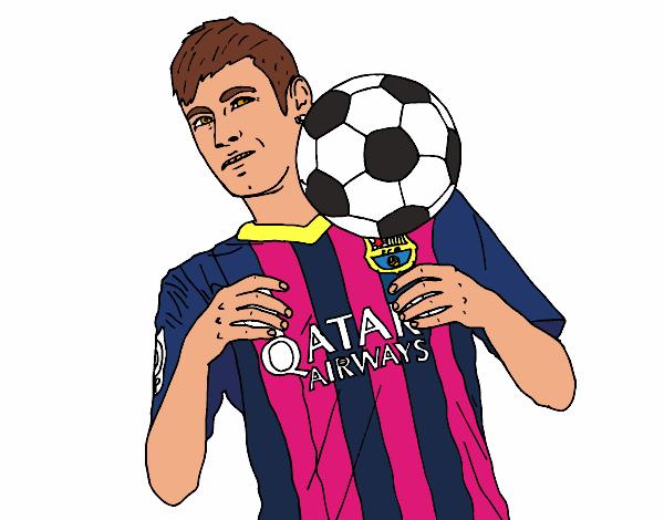Desenho De Neymar Barça Pintado E Colorido Por Crismayumi