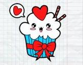 Cupcake kawaii com laço