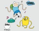 Desenho Finn e Jake ouvir música pintado por LadyCinthi