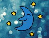 Desenho Lua com estrelas pintado por Ferabreu