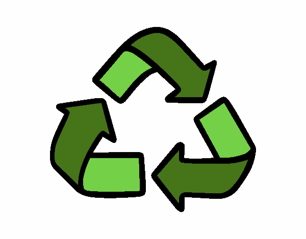 desenho de símbolo de reciclagem pintado e colorido por pipa o dia